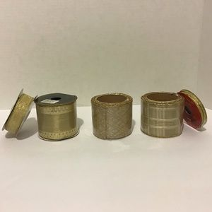Set of 5 Gold Spools of Gift Wrap Ribbon